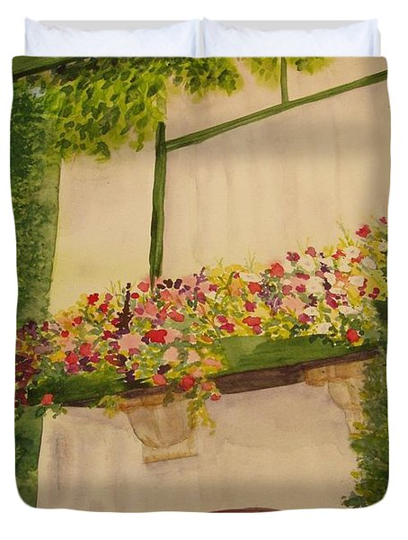 Duvet Cover featuring the painting Overlooking Butchard Gardens  by Vicki  Housel
