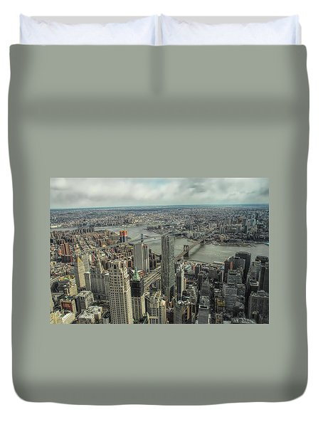 Overlooking Manhattan's East River  Duvet Cover