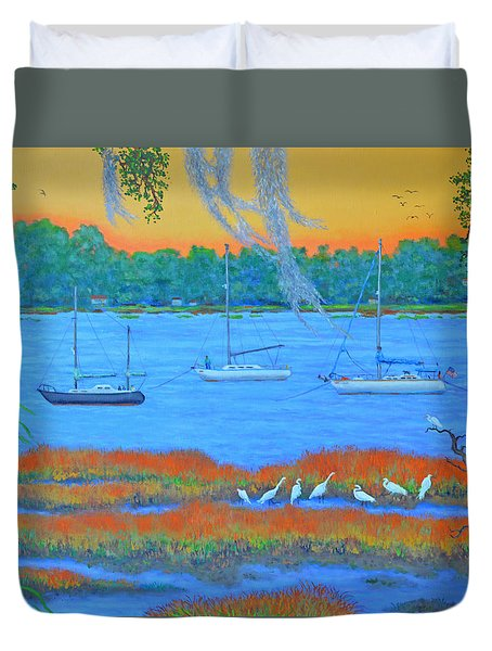 Duvet Cover featuring the painting Overnight In Beaufort by Dwain Ray