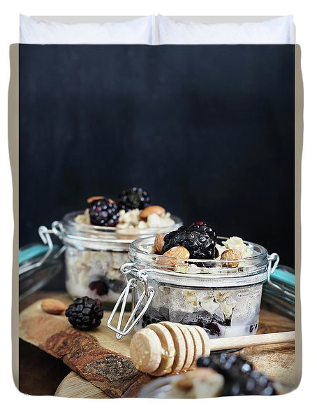 Overnight Oatmeal With Blackberries And Honey Duvet Cover