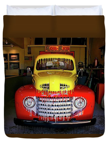 Overpainted 1950 Ford Pickup Duvet Cover