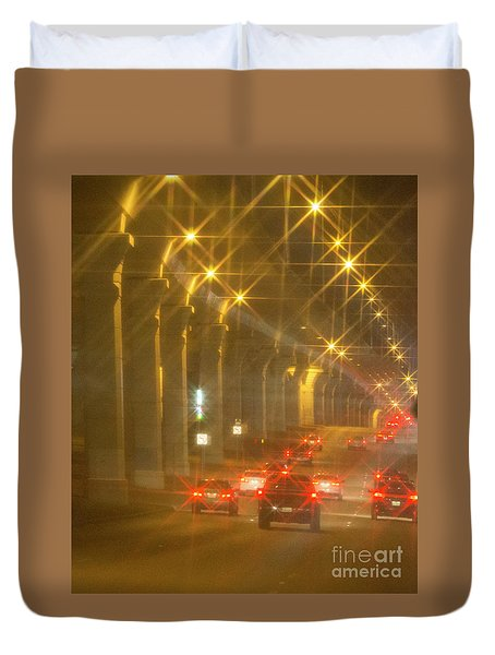 Duvet Cover featuring the photograph Overpass Traffic by Linda Phelps