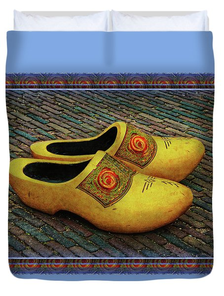 Duvet Cover featuring the photograph Oversized Dutch Clogs by Hanny Heim