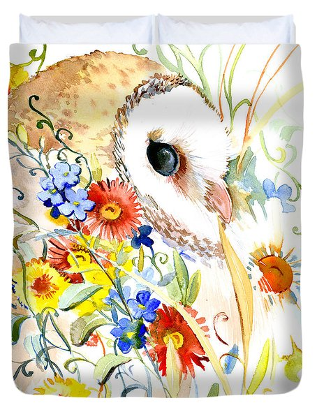 Owl And Flowers Duvet Cover