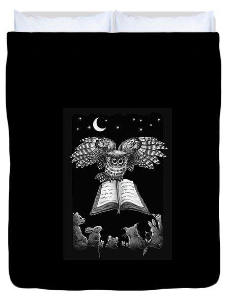 Owl And Friends Blackwhite Duvet Cover