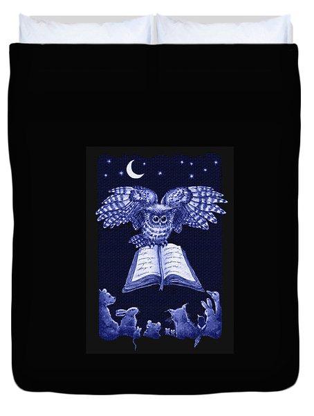 Owl And Friends Indigo Blue Duvet Cover