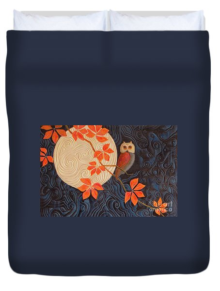 Duvet Cover featuring the painting Owl And Moon On A Quilt by Nancy Lee Moran