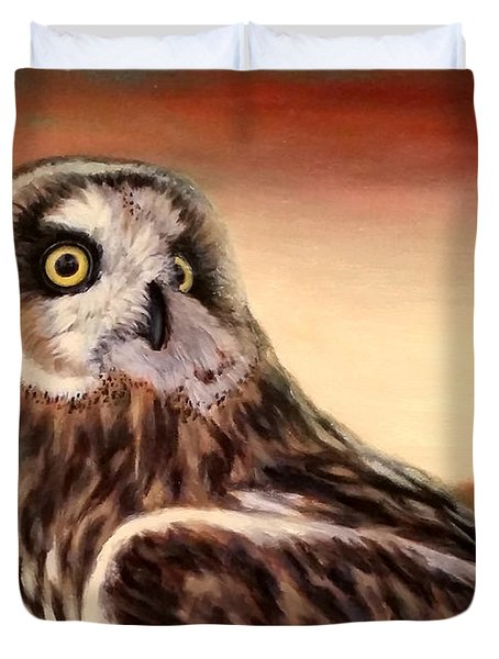 Owl At Sunset Duvet Cover