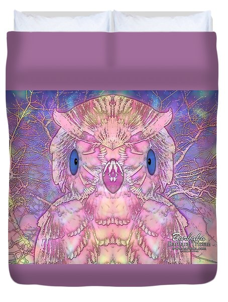 Duvet Cover featuring the digital art Owl by Barbara Tristan