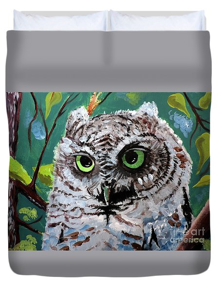 Duvet Cover featuring the painting Owl Be Seeing You by Tom Riggs