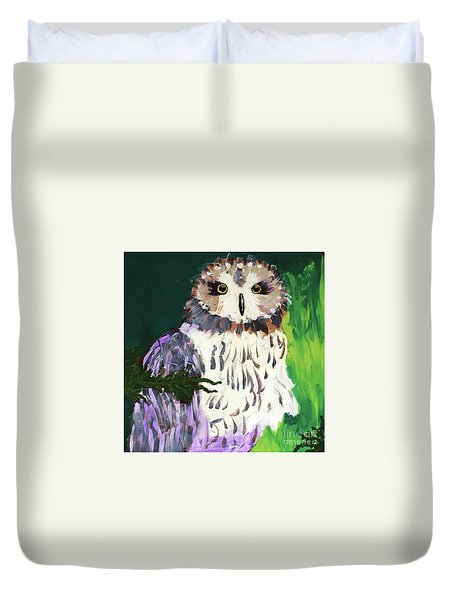 Owl Behind A Tree Duvet Cover