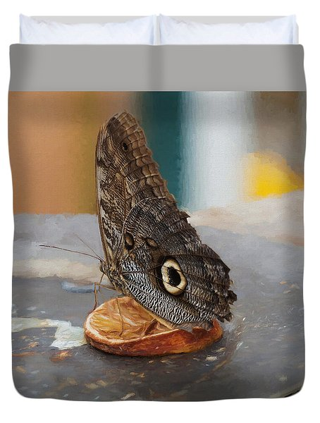 Duvet Cover featuring the photograph Owl Butterfly-1 by Paul Gulliver