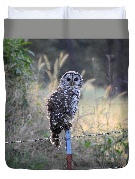 Owl Cherish This Moment Forever Duvet Cover by Roxanne Raber