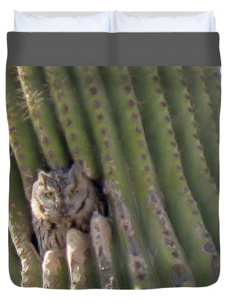 Owl In Cactus Burrow Duvet Cover