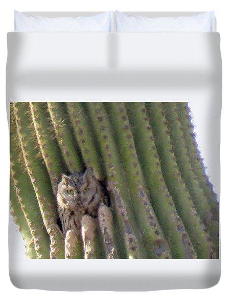 Owl In Cactus Burrow Duvet Cover