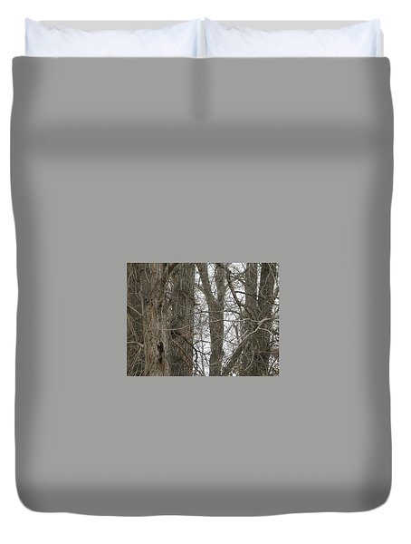 Owl In Camouflage Duvet Cover