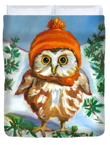 Owl In Orange Hat Duvet Cover