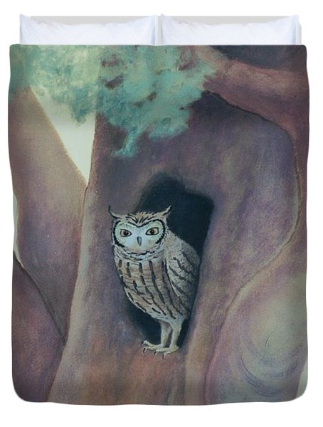 Owl In Tree Duvet Cover