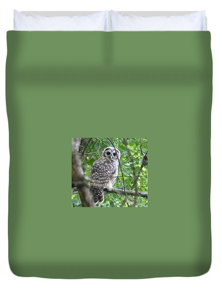 Duvet Cover featuring the photograph Owl On A Limb by Donald C Morgan