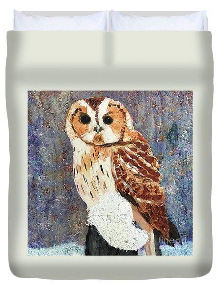 Owl On Snow Duvet Cover
