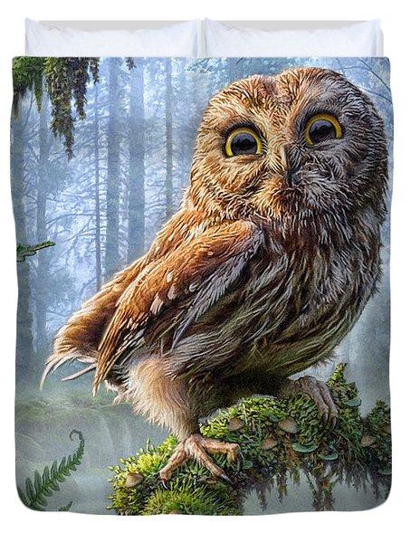 Owl Perch Duvet Cover