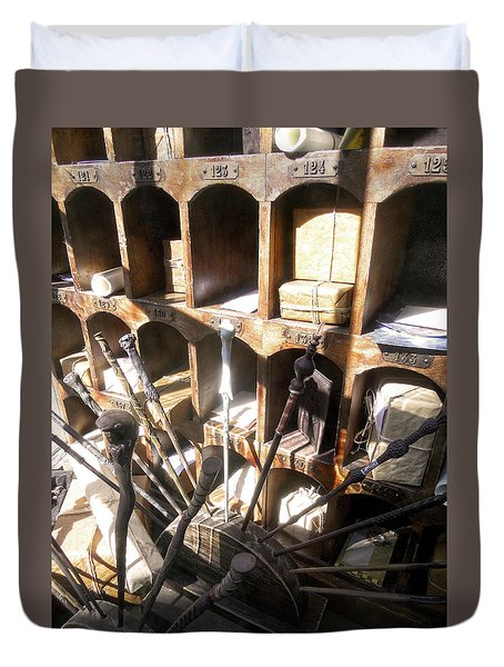 Duvet Cover featuring the photograph Owl Post Office Hogsmeade by Juergen Weiss