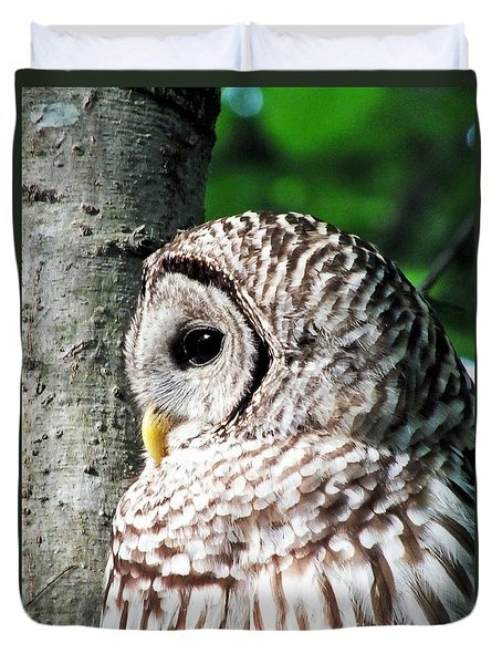 Owl Profile Duvet Cover by Christy Ricafrente
