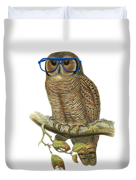 Owl Sitting On A Branch With Blue Glasses Duvet Cover