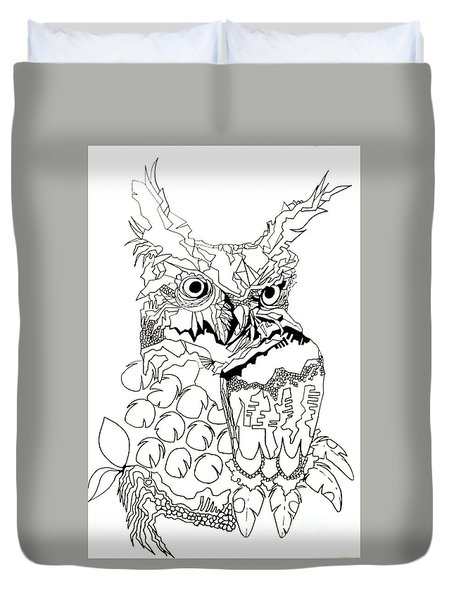 Owl Sketch 3 Duvet Cover by Amy Sorrell