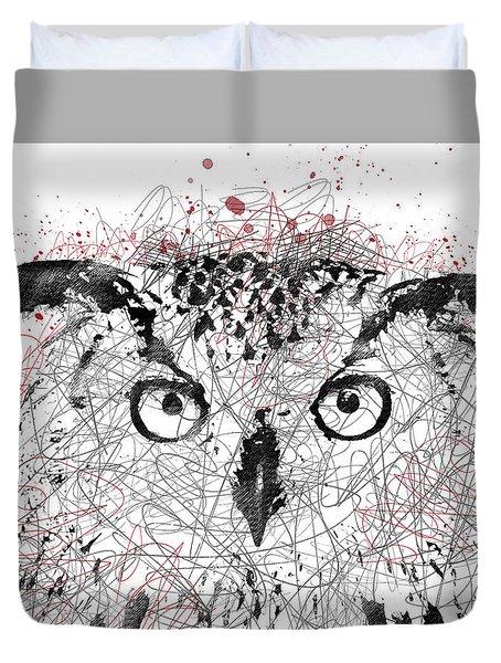 Owl Sketch Pen Portrait Duvet Cover