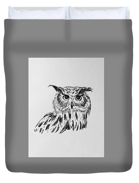 Duvet Cover featuring the drawing Owl Study 2 by Victoria Lakes