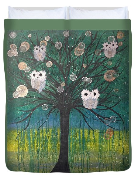 Owl Tree Of Life #378 Duvet Cover