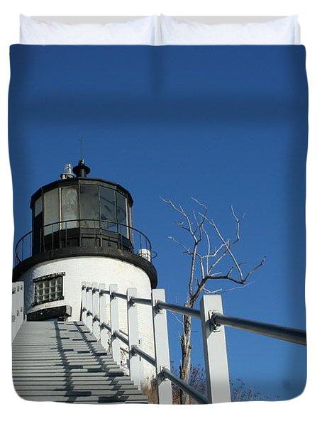 Owls Head Lighthouse Winter Duvet Cover
