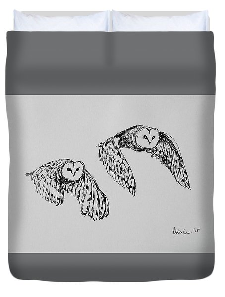 Duvet Cover featuring the drawing Owls In Flight by Victoria Lakes