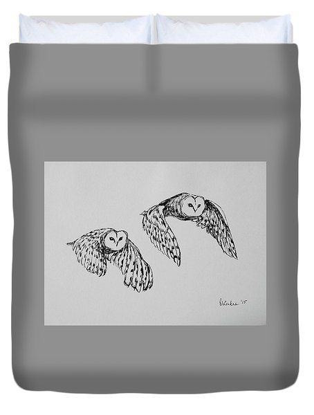 Owls In Flight Duvet Cover