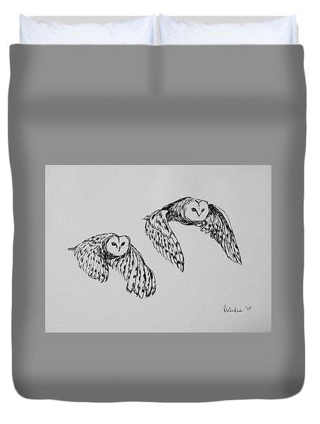 Owls In Flight Duvet Cover