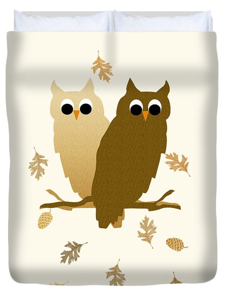 Owls Pattern Art Duvet Cover by Christina Rollo