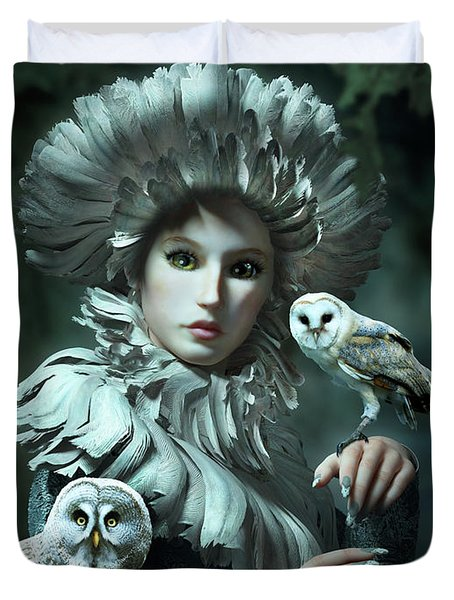 Owls Talk - Dedicated To Heather King Duvet Cover