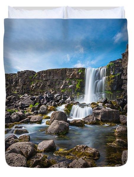 Oxararfoss Waterfall  Duvet Cover
