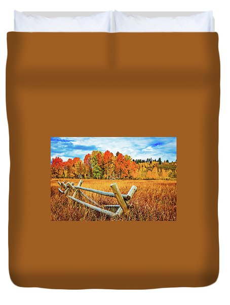 Oxbow Bend Fall Color Duvet Cover