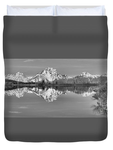 Oxbow Bend Panorama Black And White Duvet Cover by Adam Jewell
