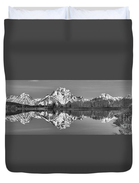 Oxbow Snake River Reflections Black And White Duvet Cover by Adam Jewell