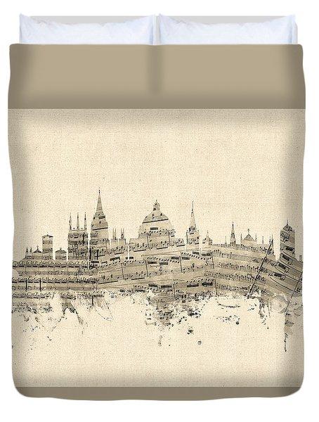 Oxford England Skyline Sheet Music Duvet Cover
