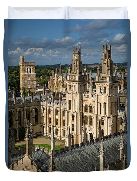 Duvet Cover featuring the photograph Oxford Spires by Brian Jannsen