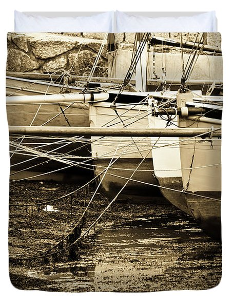 Oyster Boats Laid Up At Mylor Duvet Cover