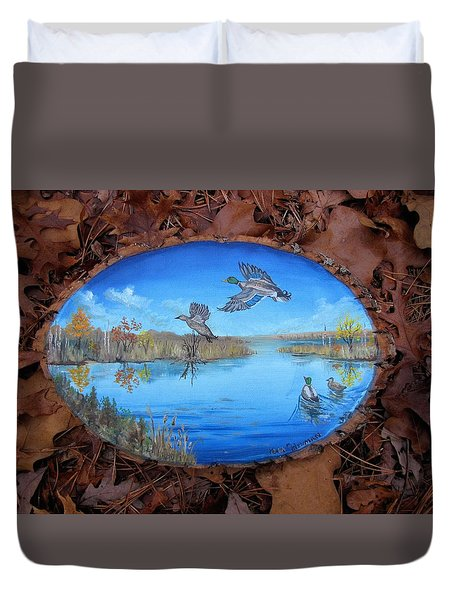 Oyster Creek Flock Duvet Cover
