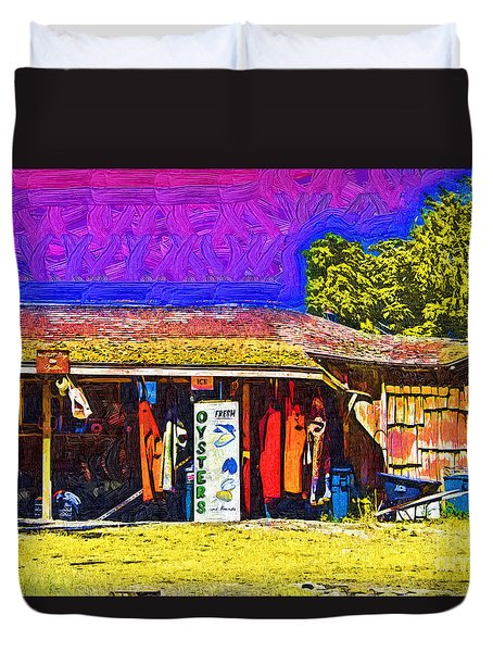 Duvet Cover featuring the digital art Oyster Hut by Kirt Tisdale