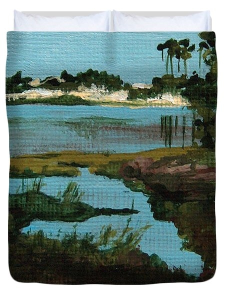 Oyster Lake Duvet Cover by Racquel Morgan