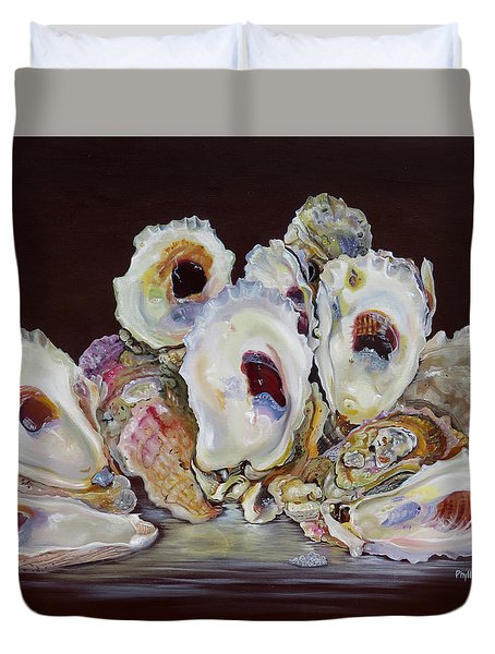 Oyster Shell Study At Low Tide Duvet Cover by Phyllis Beiser