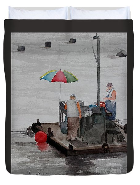 Oystering On Tomales Bay Duvet Cover